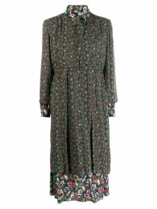 Junya Watanabe floral long-sleeve shirt dress - 1 BL RD