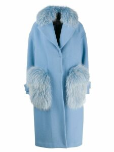 Blancha fur trim coat - Blue
