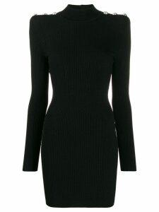 Balmain Buttoned knit mini-dress - Black