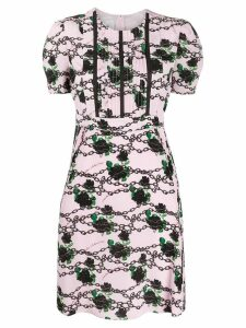 Valentino roses and chains printed dress - Pink
