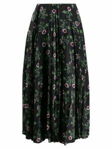 Valentino pleated floral print skirt - Black