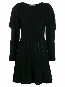 Alberta Ferretti ruffle sleeve knitted dress - Black