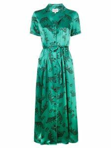 HVN leopard print shirt dress - Green