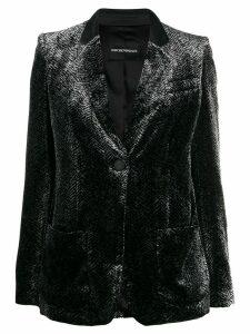 Emporio Armani printed velvet blazer - Black