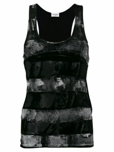 Saint Laurent distressed velvet stripe tank top - Black