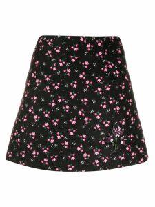be blumarine floral a-line skirt - Black