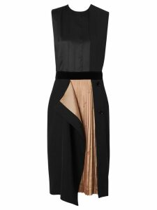 Burberry Panel Detail Silk and Wool Shift Dress - Black