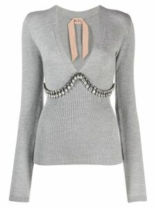 Nº21 crystal embellished v-neck sweater - Grey