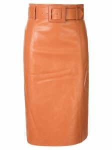 Drome belted leather pencil skirt - ORANGE