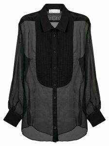 Fleur Du Mal pleated bib sheer shirt - Black
