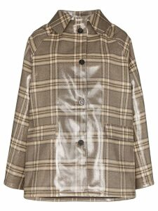 Kassl Editions checked patent coat - Brown