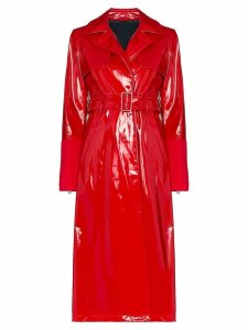 Kirin latex belted trench coat - Red