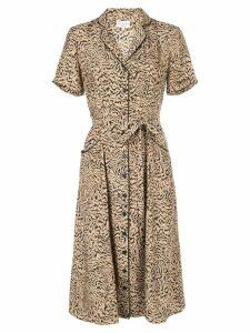 HVN tiger print shirt dress - Brown