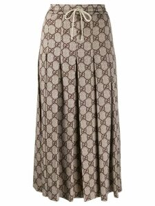 Gucci GG pattern pleated midi skirt - Neutrals