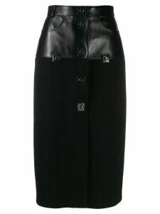 Christopher Kane ribbed jersey leather skirt - Black