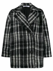 Iro plaid double-breasted coat - Black