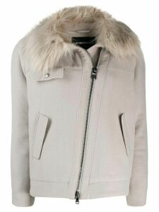 Emporio Armani fur trim coat - Grey