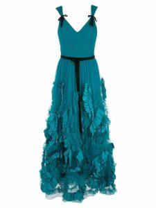 Marchesa Notte mix-media textured tulle tea length dress - Blue