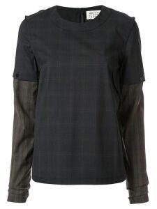 Maison Margiela check two-layer T-shirt - Blue