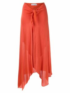 Mara Mac tie waist knitted midi skirt - ORANGE