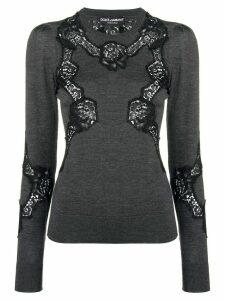 Dolce & Gabbana lace detail jumper - Grey