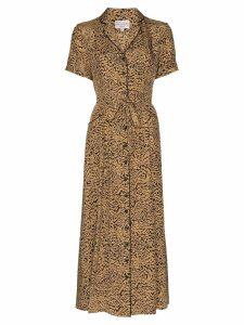 HVN Maria printed midi dress - Brown