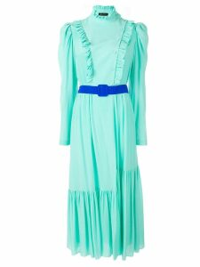 Anna October belted ruffle-trimmed dress - Green
