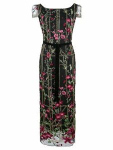 Marchesa Notte short-sleeve beaded embroidered gown - Black