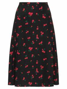 HVN Wiona cherry print skirt - Black