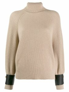Brunello Cucinelli satin cuff jumper - Neutrals