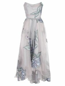 Marchesa Notte draped corset embroidered silk organza gown - Silver