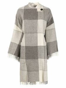Jil Sander checked tassel coat - Neutrals