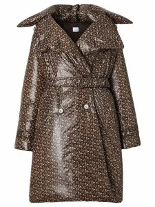 Burberry monogram-print down trench coat - Brown