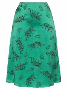 HVN leopard print silk midi skirt - Green