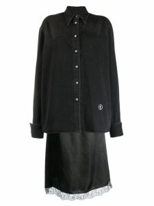 Mm6 Maison Margiela layered denim shirt midi dress - Black