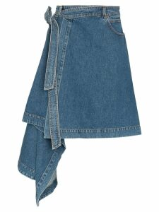 House of Holland asymmetric draped denim skirt - Blue