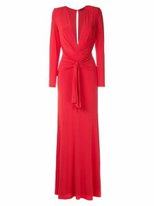 Tufi Duek front knot draped gown - Red