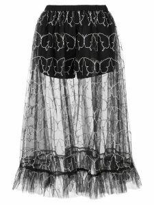 Sandy Liang butterfly embroidery tulle skirt - Black