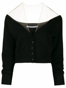 Alexander Wang sheer yoke cardigan - Black