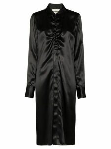 Bottega Veneta ruched midi shirt dress - Black