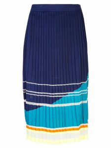 i-am-chen knit pleated midi skirt - Blue