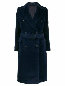 Tagliatore double-breasted belted coat - Blue