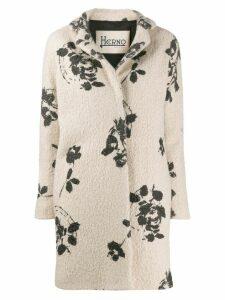 Herno floral print textured coat - NEUTRALS