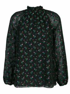 Cynthia Rowley florence smocked neck blouse - Black
