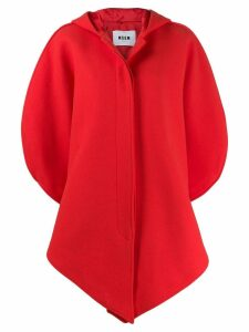 MSGM asymmetric hooded coat - Red