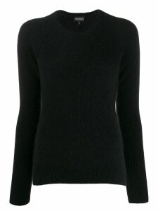 Emporio Armani long-sleeve fitted sweater - Black