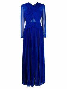 Self-Portrait pleated maxi dress - Blue