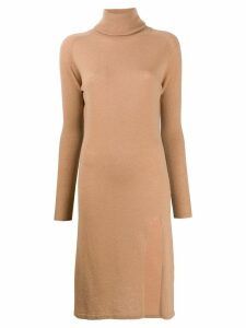 Laneus knitted turtleneck dress - Neutrals