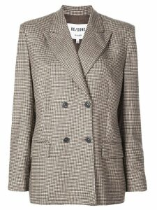 Re/Done double-breasted houndstooth blazer - Brown
