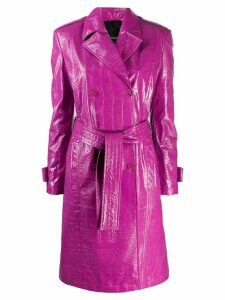 Pinko crocodile embossed trench coat - Purple